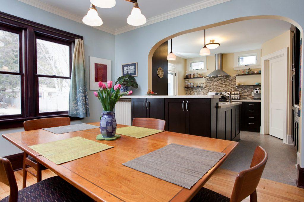 Кухня с столовой вместе фото