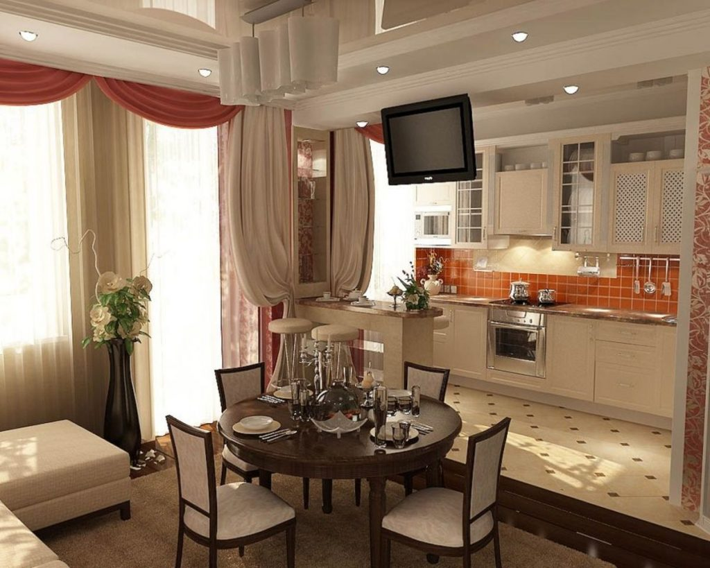 кухня с столовой вместе фото время