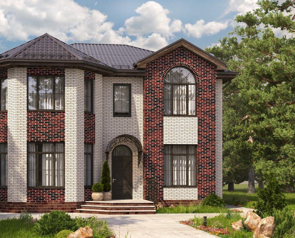 проекты домов коттеджей с фасадом эркер фото размер работ