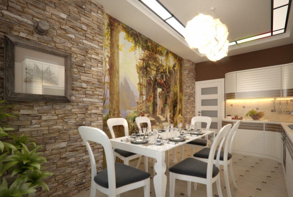 модная отделка стен на кухне фото условие для