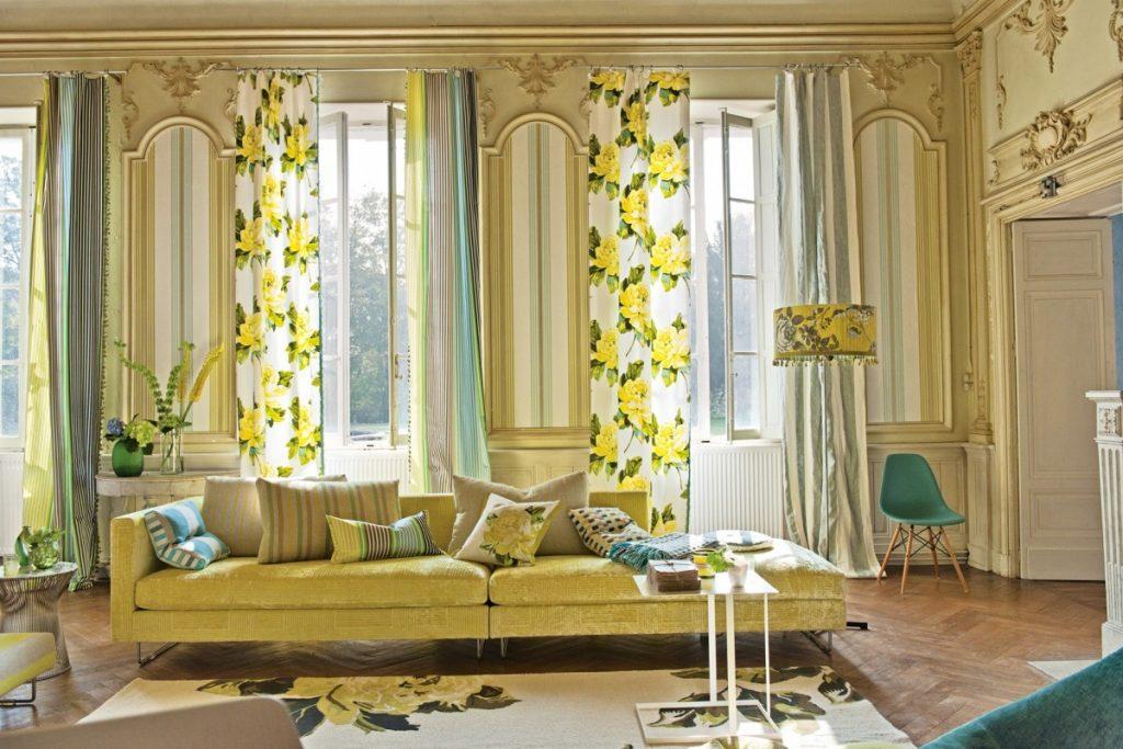 Желтые шторы в гостиную фото главное говорили
